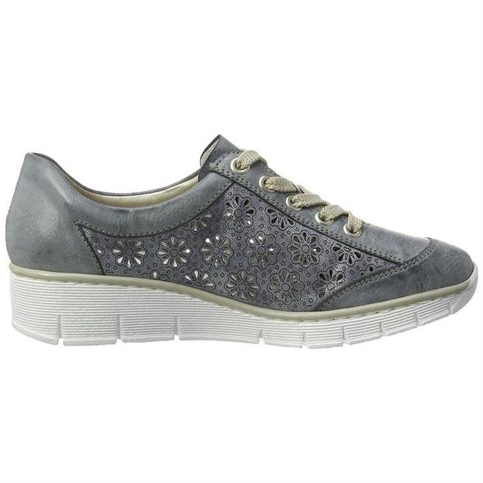 36e0a662d7472 Chaussures à lacets cuir + synthetique bleu Rieker   La Redoute