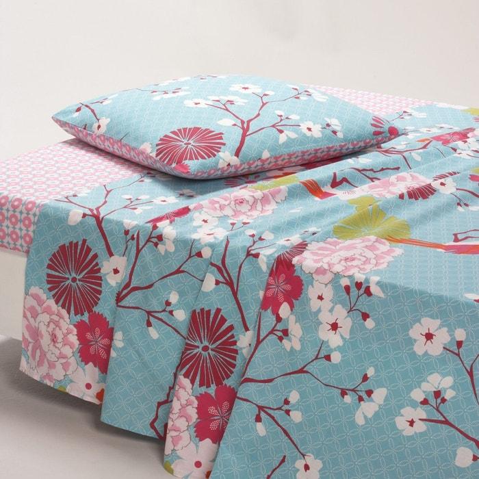 Image MISS CHINA Blue Floral Cotton Flat Sheet La Redoute Interieurs