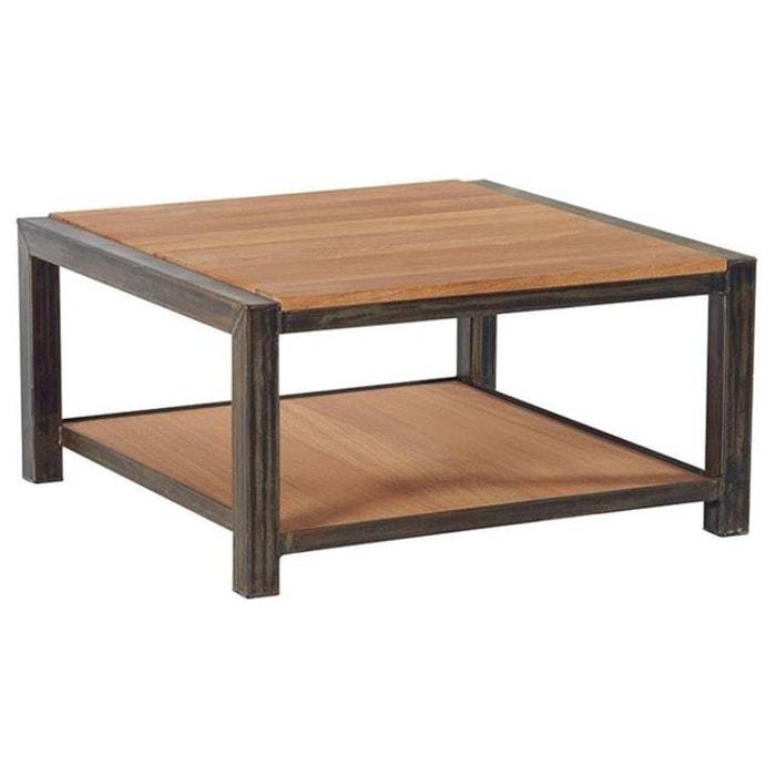 Table Basse Industrielle Carree 80cm Chene Massif Naturel Et Metal