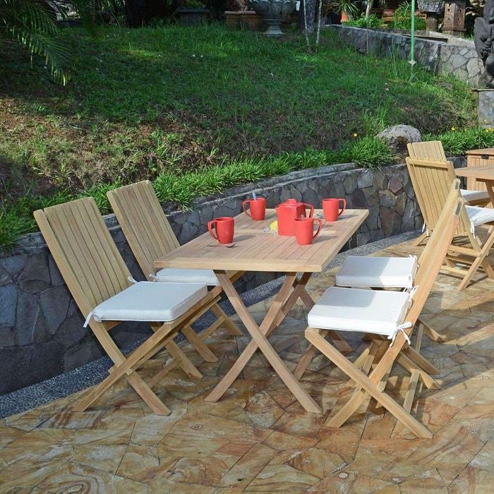 Salon de jardin en teck Ecograde Masaï table pliante avec 4 chaises Karimun