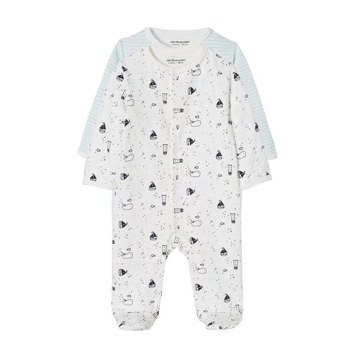 ff7cb72049069 Lot de 2 pyjamas bébé naissance garçon sur les flots lot rayé ciel  Vertbaudet