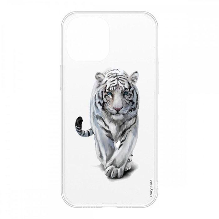 Coque pour iPhone 12 Mini (5,4) souple Tigre blanc