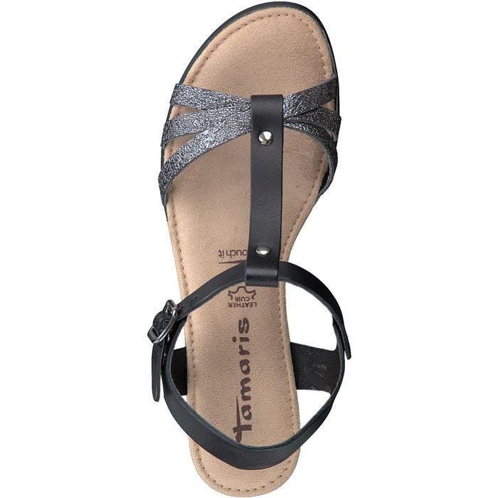 Sandales cuir à talon compensé zeyla noir Tamaris