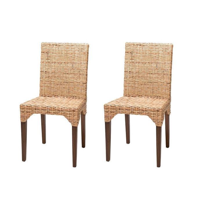 lot de 2 chaises vitor en rotin kubu miel paille rotin design la redoute. Black Bedroom Furniture Sets. Home Design Ideas