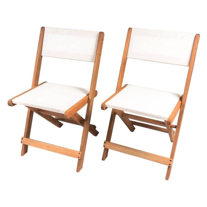 Chaise pliante en bois exotique seoul maple beige lot de 2 blanc habitat et jardin la for Chaise de jardin pliante