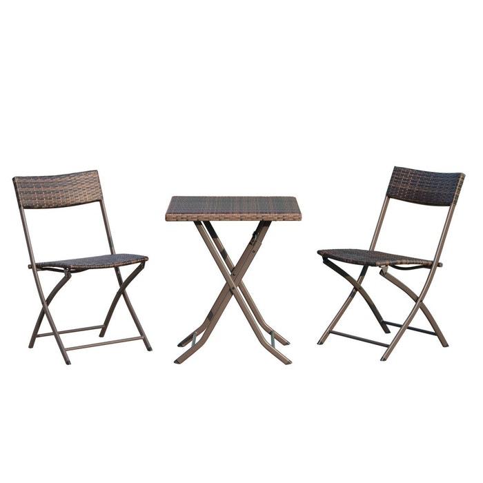 Rotin Pliables Chaises De Jardin Marron Design Et Outsunny Carré Meubles Ensemble Tressée Imitation Table Résine O0nkXw8P