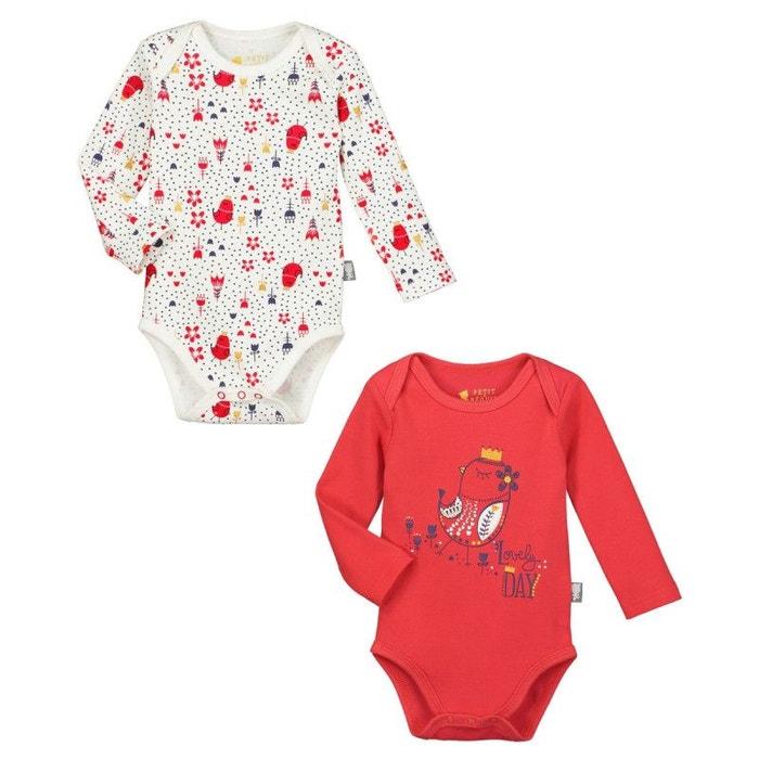 Lot de 2 bodies manches longues bébé fille lovely day rouge Petit Beguin  bbdd543fffd