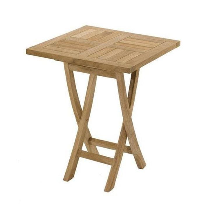 Table de jardin carrée pliante en bois de teck massif 60x60cm SUMMER 2  personnes
