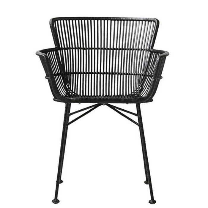 Chaise rotin noir avec accoudoirs salle manger design for La redoute chaises de salle a manger
