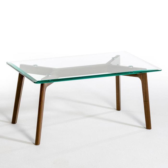 table basse verre et noyer, kristal noyer am.pm   la redoute
