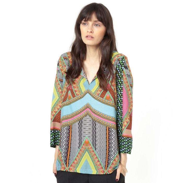 afbeelding Bedrukte soepele blouse SOFT GREY