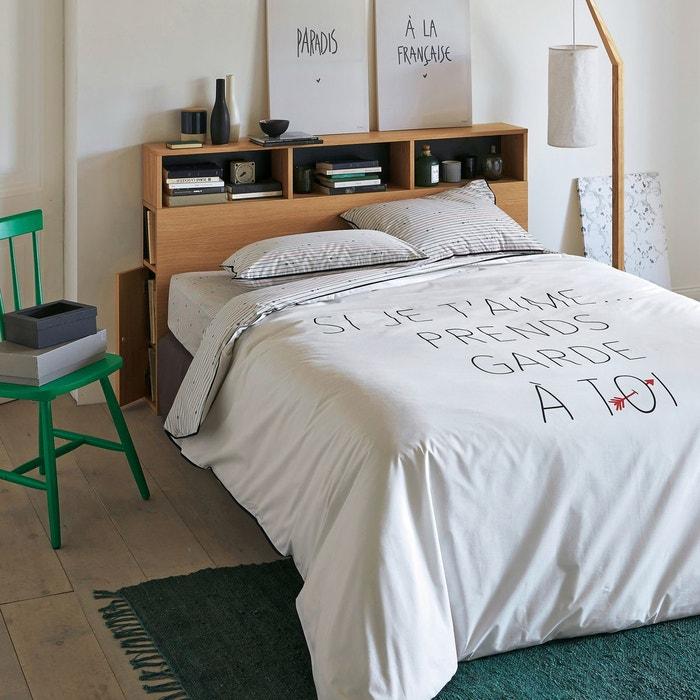 housse de couette percale de coton si je t 39 aime blanc noir rouge la redoute interieurs la. Black Bedroom Furniture Sets. Home Design Ideas