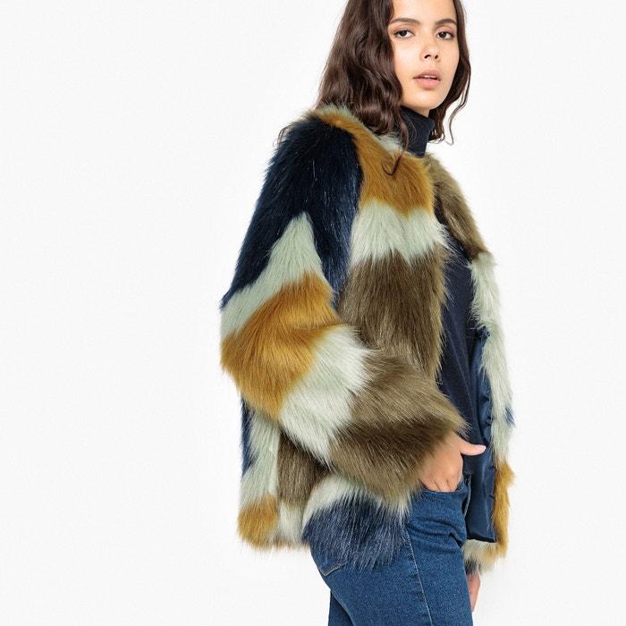 Graphic Faux Fur Coat , Multi-coloured, La Redoute