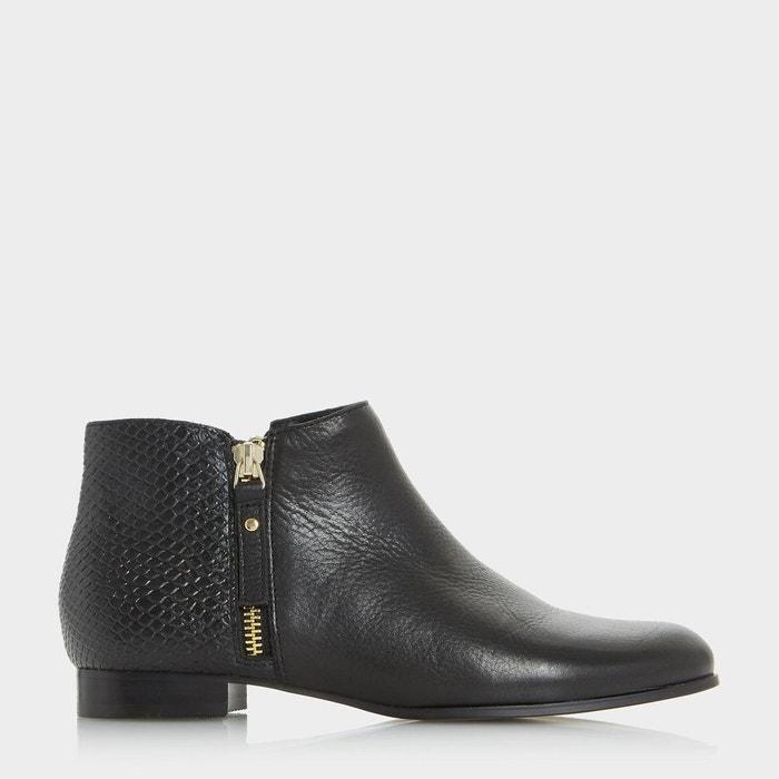 Bottines pixie à zip latéral - panders  noir cuir Dune London  La Redoute
