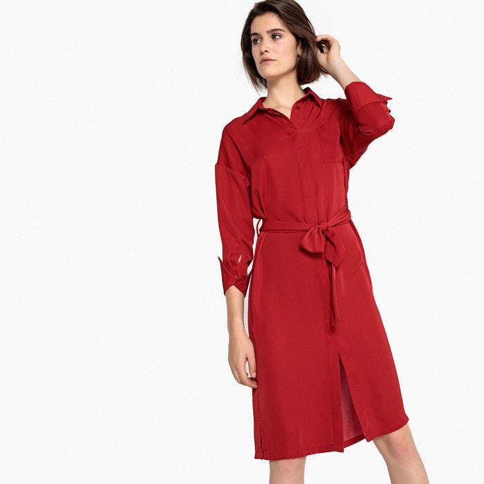 ed962e6dbc30f Vestido camisero recto con cinturón y manga larga rojo oscuro La Redoute  Collections