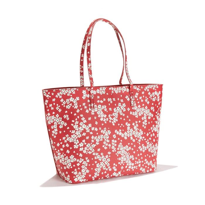 556cb5b4514 Handtas met bloemen en uitneembare zakje met ritssluiting LA REDOUTE  COLLECTIONS rood