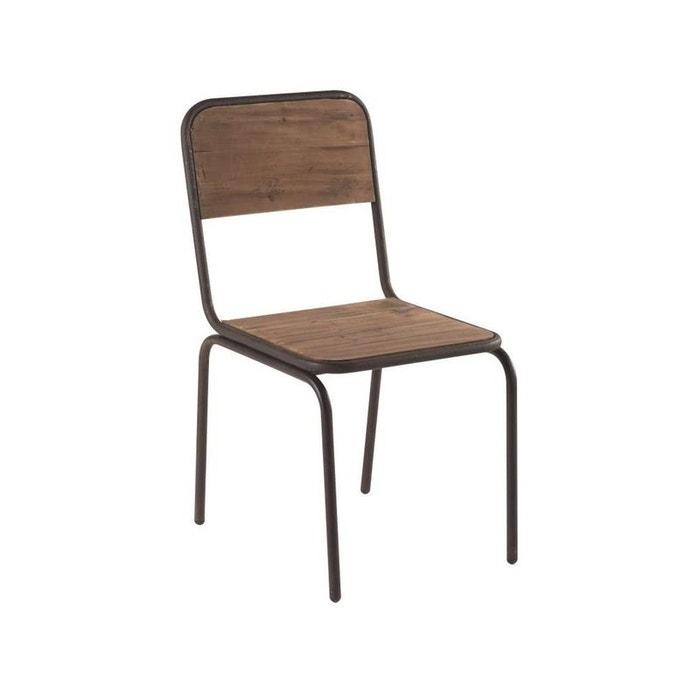 Chaise industrielle 45x87cm sapin recycl et fer bois for Chaise industrielle pas cher