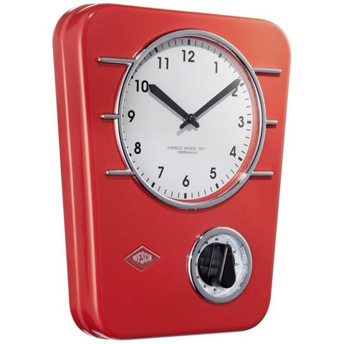 Wesco classic line horloge de cuisine rouge wesco la redoute - Horloge cuisine rouge ...