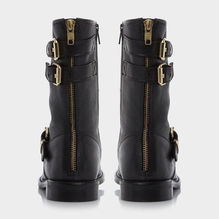 Buckle detail biker boot - rowen noir cuir Dune London