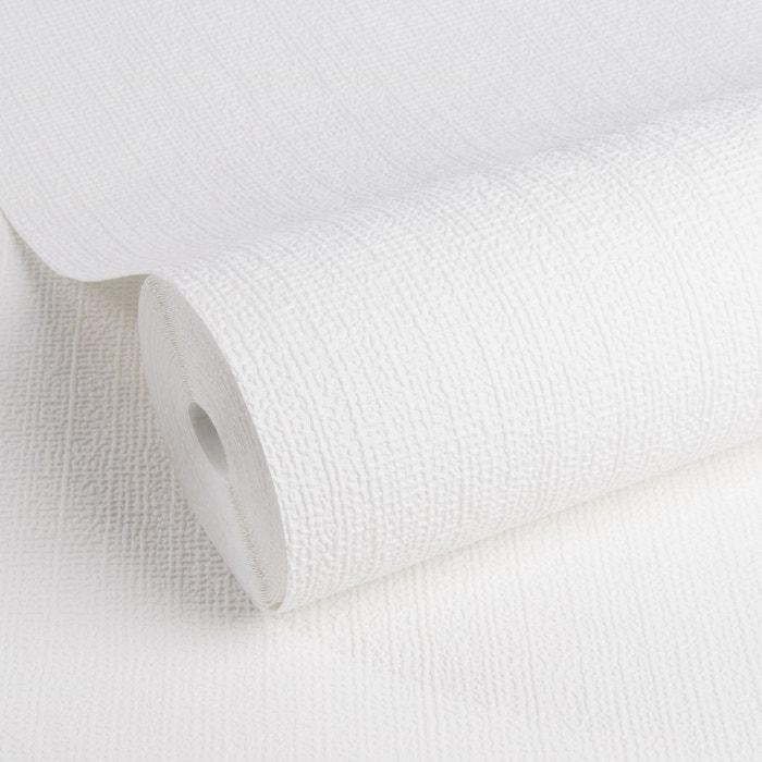 Papier peint intissé texture blanc à peindre 10 m x 52 cm blanc
