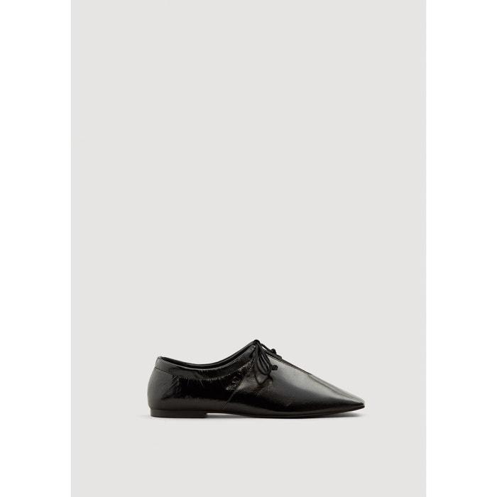 Chaussures cuir ouverture noir Mango professionnel faux jqT4V