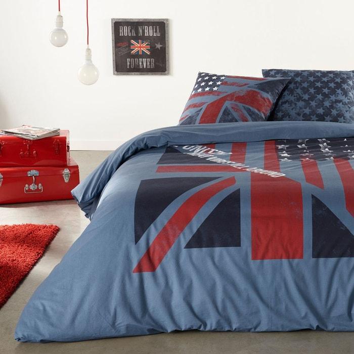 housse de couette new jack imprim e en coton bleu rouge la redoute interieurs la redoute. Black Bedroom Furniture Sets. Home Design Ideas