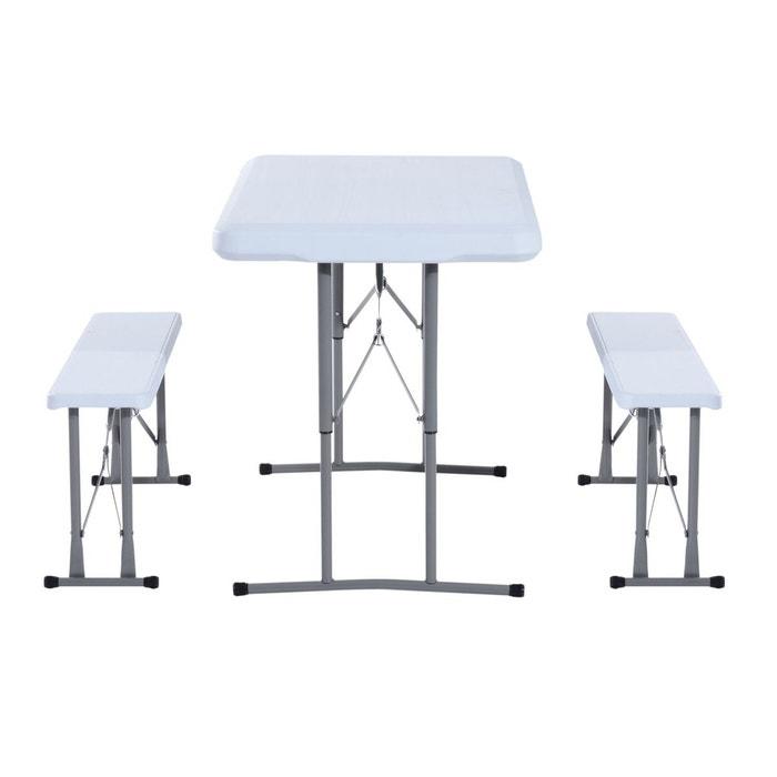 Table de camping pique nique pliable portable avec 2 bancs - Table de camping avec banc ...