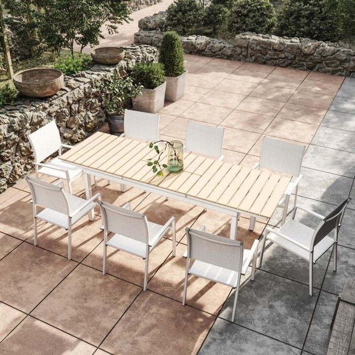 Table de jardin extensible, aluminium, 180/240cm, 8 fauteuils ...