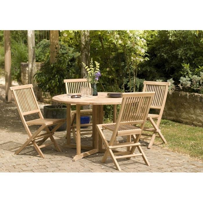 Salon de jardin en teck table ronde 120cm 4 chaises summer bois ...