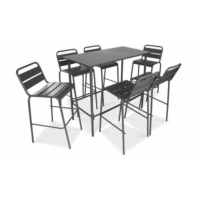 Table haute de jardin en métal et 6 tabourets, palavas gris Oviala ...