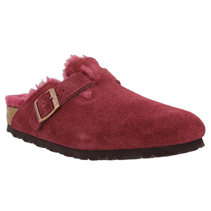 Birkenstock Boston Fur velours Femme Bordeaux Bordeaux - Chaussures Mules Femme