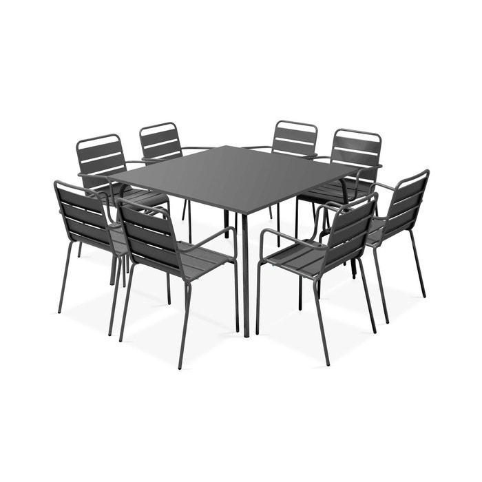 Table de jardin carrée et 8 fauteuils en métal, Palavas