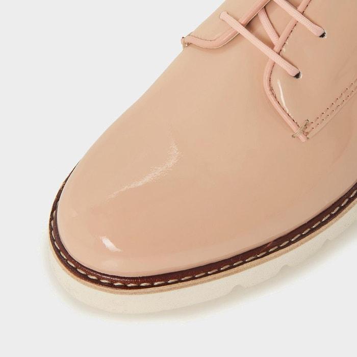 Chaussures à lacets à semelles épaisses rainurées - finnly rose pâle cuir Dune London