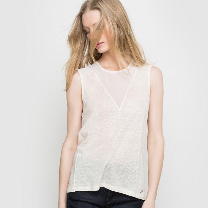 Image T-shirt Oralie Foil Spray, sans manches, lin et voile FREEMAN T. PORTER