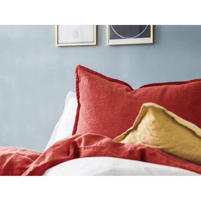 taie d 39 oreiller carr e lin lav unie brique brique blanc cerise la redoute. Black Bedroom Furniture Sets. Home Design Ideas