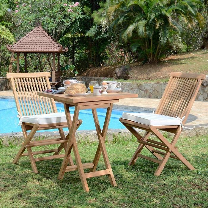 Salon de jardin en teck ecograde sawu, table pliante carrée avec 2 ...