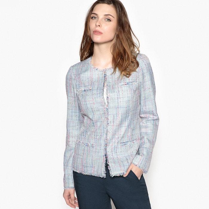 Jacquard Woven Jacket with Frayed Detailing  ANNE WEYBURN image 0