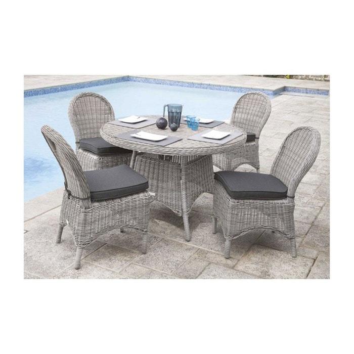 Salon de jardin à table ronde en résine tressée gris Home Maison ...