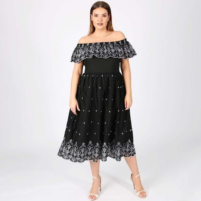 robe en dentelle ligne vas e longueur 3 4 noir lovedrobe la redoute. Black Bedroom Furniture Sets. Home Design Ideas