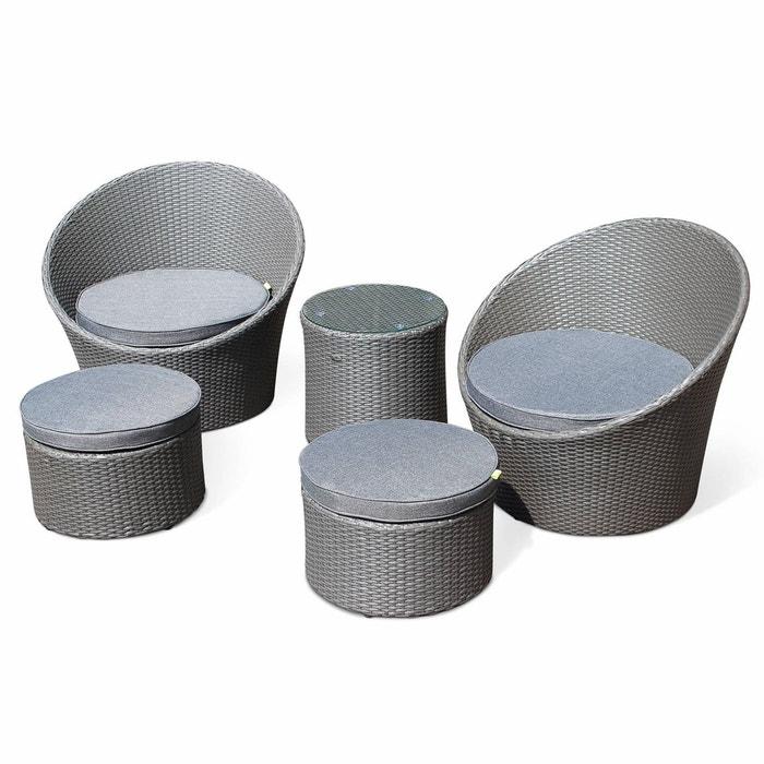 Salon de jardin en résine tressée gris 4 places empilable et ...