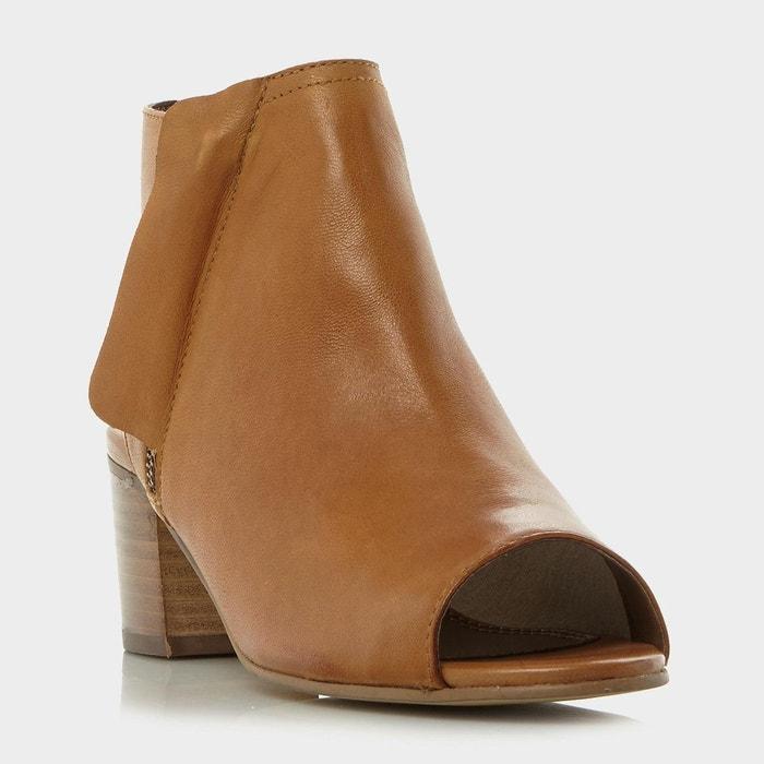 Sandales couvrantes avec zip latéral - jolie fauve cuir Dune London