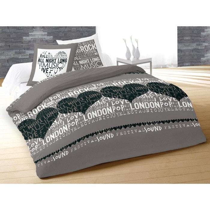 parure de lit sound gris 240x220 terre de nuit gris terre de nuit la redoute. Black Bedroom Furniture Sets. Home Design Ideas