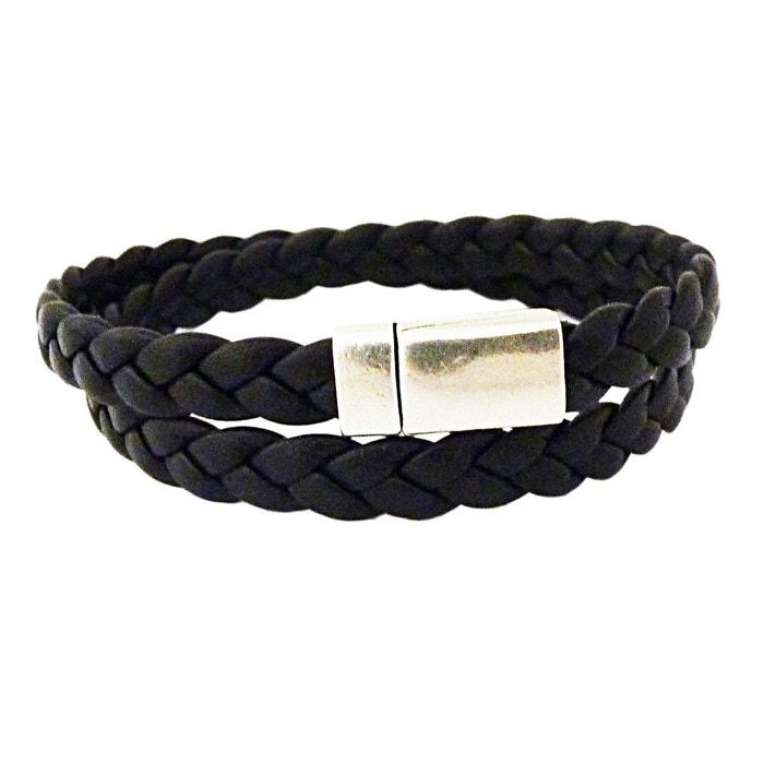 Bracelet cuir tresse noir homme