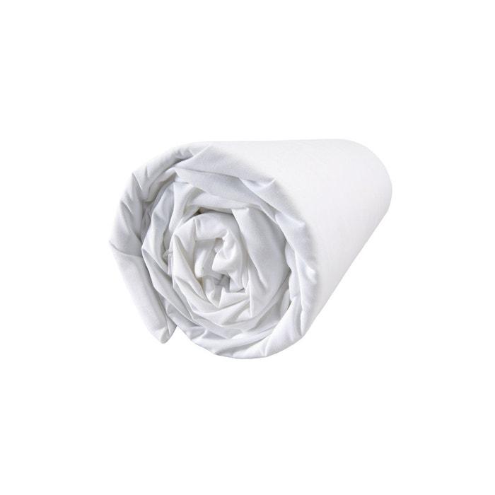 drap housse percale 80 fils cm blanc uni blanc blanc cerise la redoute. Black Bedroom Furniture Sets. Home Design Ideas