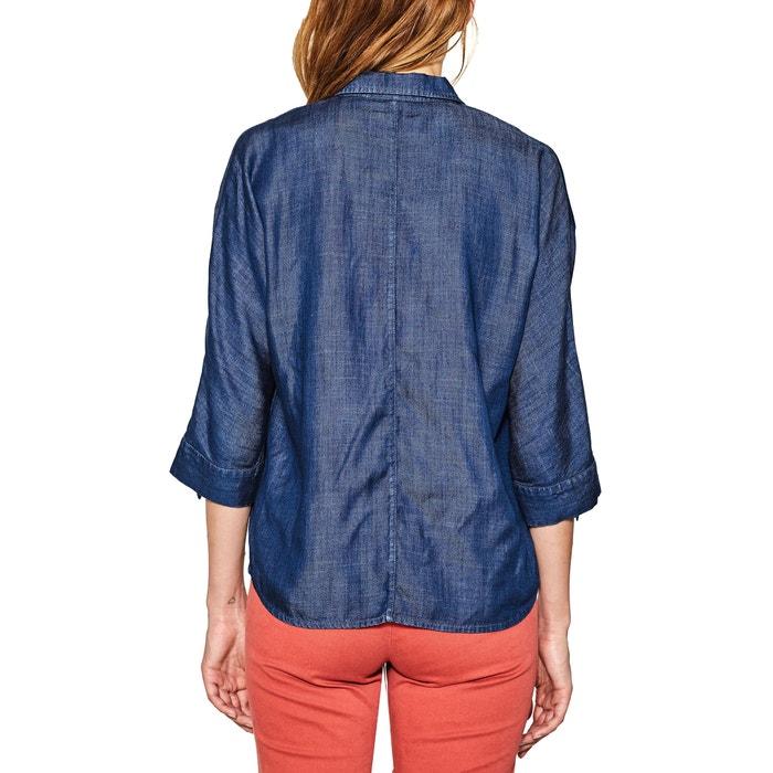 Image Camicetta con collo a polo, camicia tinta unita, maniche lunghe ESPRIT