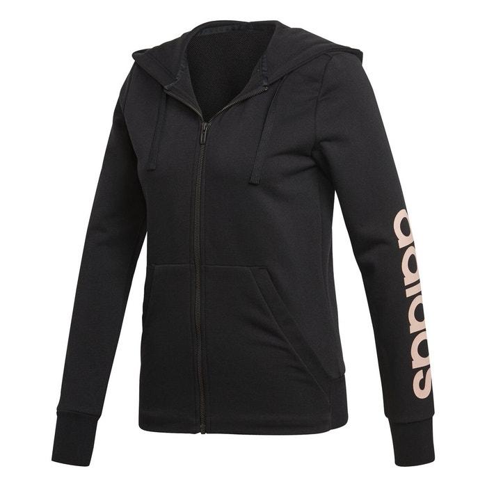 21185619bb613 Veste essentials linear hoodie noir Adidas | La Redoute