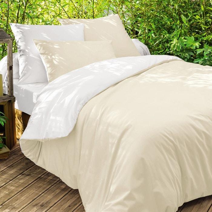 housse de couette bicolore en coton pile ou face made in france blanc beige origin la redoute. Black Bedroom Furniture Sets. Home Design Ideas