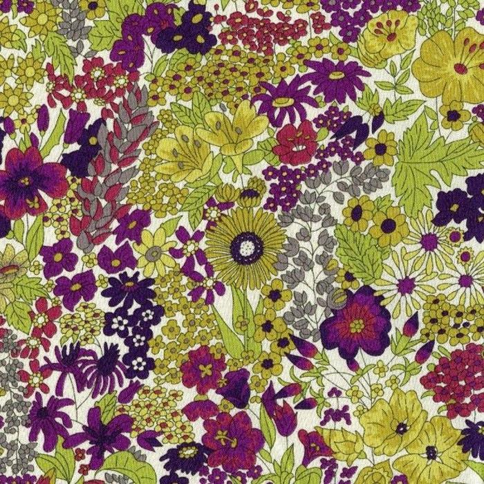 Tissus Liberty Margaret Annie Grenat/souris/kaki