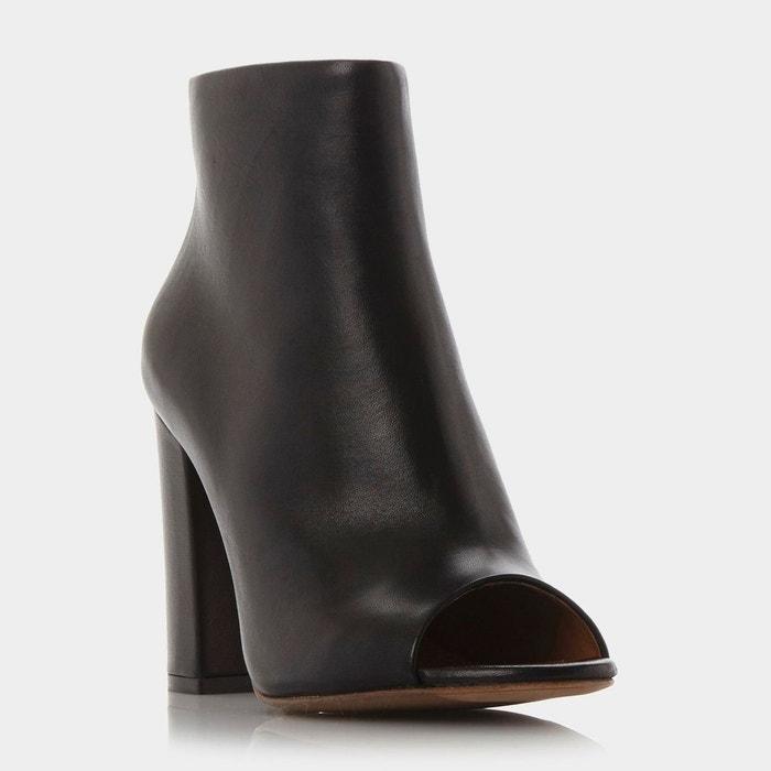 Leather peep toe ankle boot - oathe  Dune Black  La Redoute