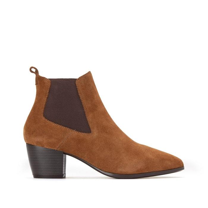 Boots cuir effet velours Eva